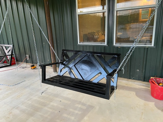 "Custom Welding Steel Porch Swing ""Legend Custom Welding and Fence"""